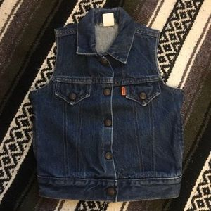 Vintage Rare Orange Tab Levis Denim Vest Size 5